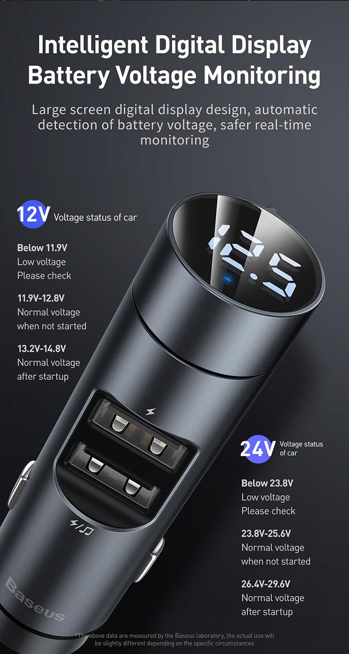 Transmiter FM Baseus Energy Column ładowarka samochodowa 3,1A czarna